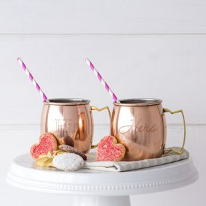Buy 2 Piece His / Hers Moscow Mule Copper Mug with Unique Handle Set!