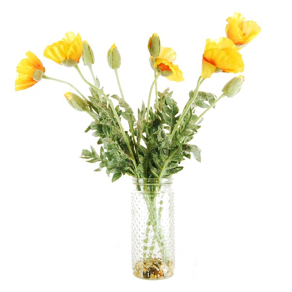Poppies in a Hobnail Jar with River Rocks and Faux Water by LCG Florals
