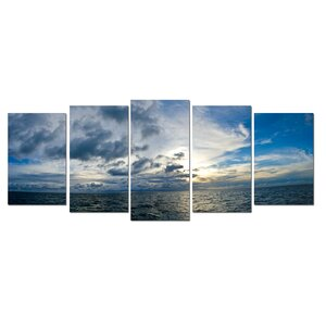 'Sunset at Sea' 5 Piece Photographic Print on Canvas Set by Zipcode Design