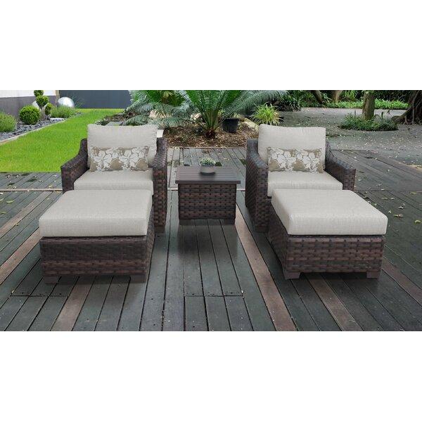 Kathy Ireland Homes & Gardens River Brook 5 Piece Outdoor Wicker Patio Furniture Set 05b by kathy ireland Homes & Gardens by TK Classics