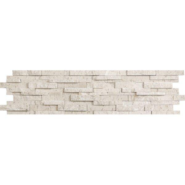 Presidio Splitface 6 x 24 Limestone Mosaic Tile in Ivory by Emser Tile