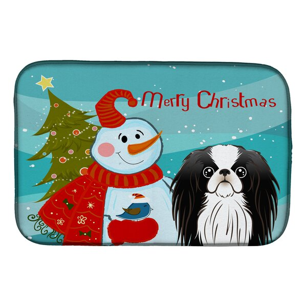 Snowman with Japanese Chin Dish Drying Mat by Caroline's Treasures