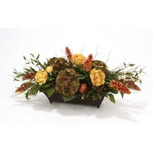 Silk Roses, Peonies, Berries and Birch in Rust Filigree Planter