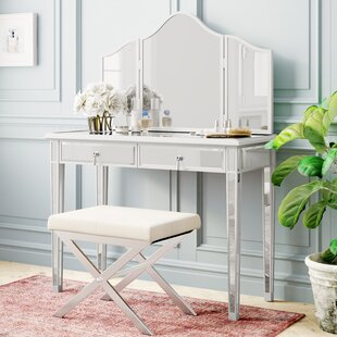 Orpha Contemporary Handpainted Vanity with Mirror by Rosdorf Park