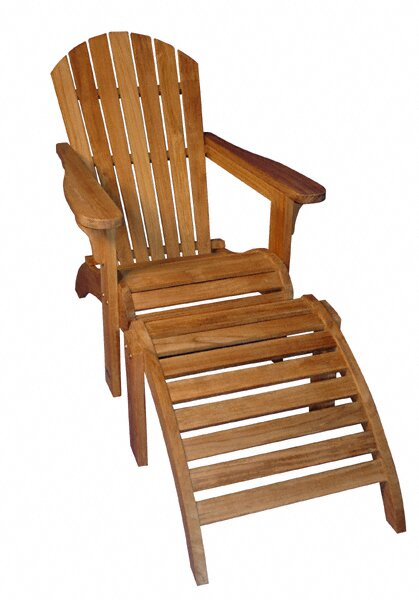 Teak Adirondack Chair with Ottoman by Regal Teak