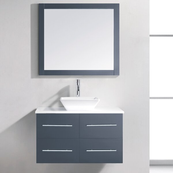 Decastro 35 Single Bathroom Vanity Set with White Stone Top and Mirror by Mercury Row