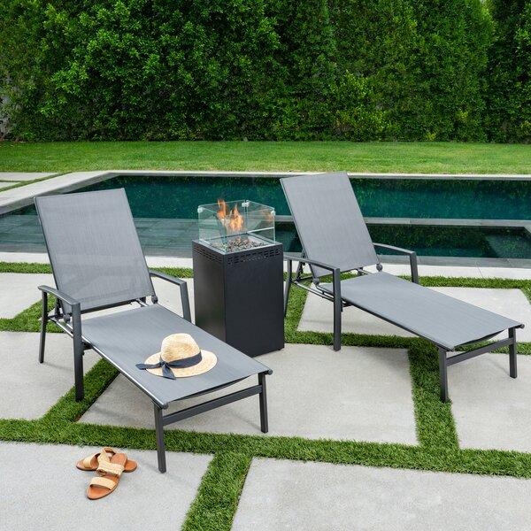 Cerqueira Sling Sun Lounger Set with Table by Latitude Run Latitude Run