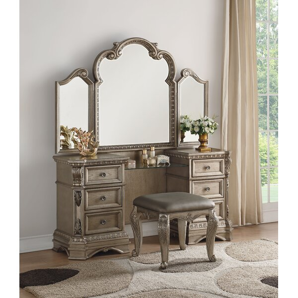 Leanos Vanity with Mirror by Rosdorf Park