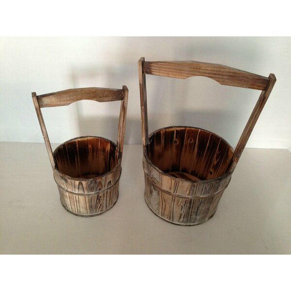 Wood Pot Planter Set (Set of 8) by Screen Gems
