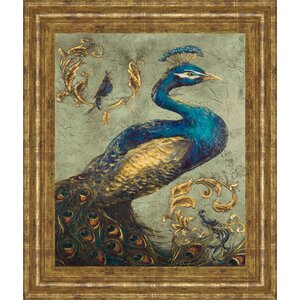 'Peacock on Sage I' Framed Painting Print by World Menagerie