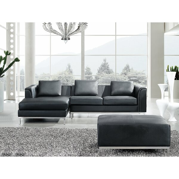 Catlett Leather Corner Sectional by Wade Logan