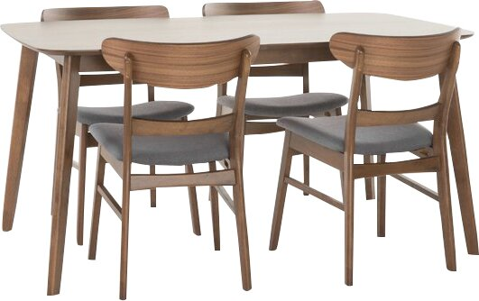 Yolanda 5 Piece Rubberwood Dining Set by Langley Street