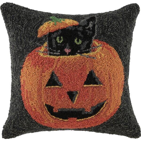 Peeking Cat Pumpkin Hook Throw Pillow by Peking Handicraft