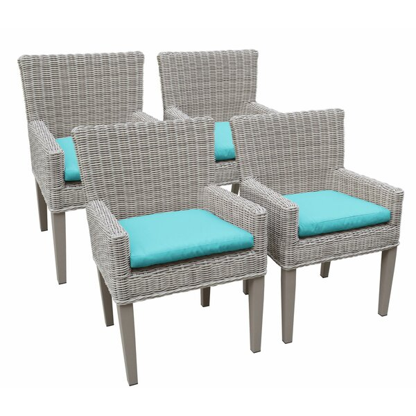 Kristyn Patio Dining Chair with Cushion (Set of 4) by Breakwater Bay