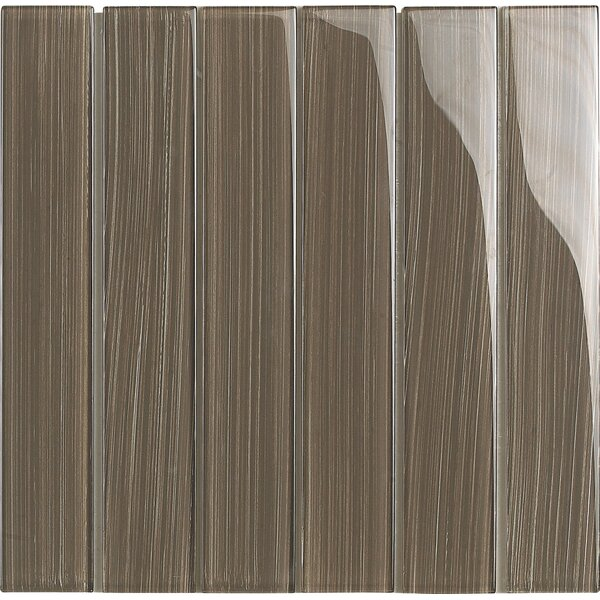 Brushstrokes 2 x 12 Glass Mosaic Tile in Brown by Epoch Architectural Surfaces