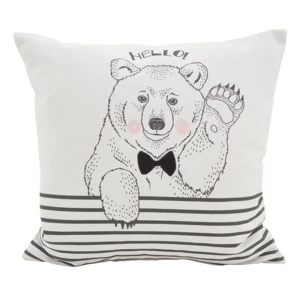Owens Animal Dessiné Hello Bear Striped Cotton Throw Pillow by Wrought Studio