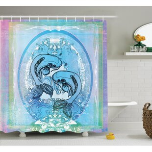 Clearance Ouitchambo Japanese Soul Mate Ethnic Exotic Fishes on Gradient Round and Framed Sea Illustration Shower Curtain By World Menagerie