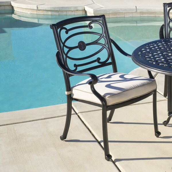 Croydon Stationary Stacking Patio Dining Chair with Cushion (Set of 4) by Darby Home Co
