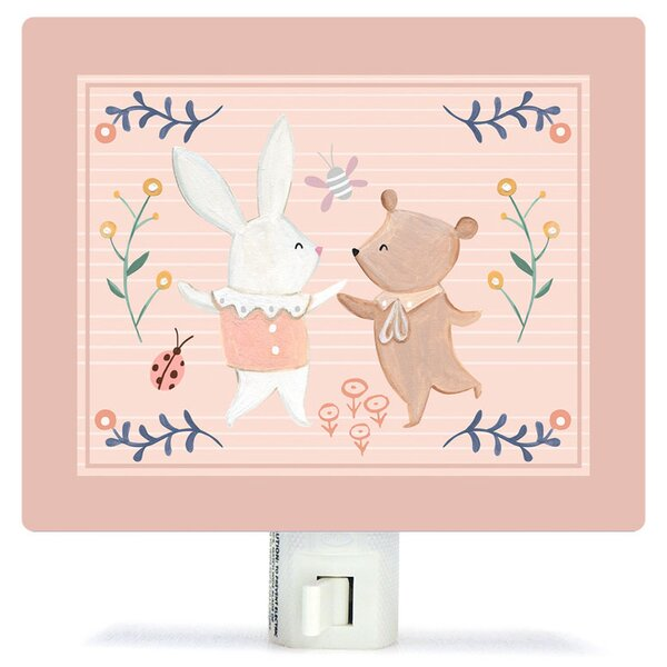 Non-Personalized Bunny and Bear Dancers Canvas Night Light by Oopsy Daisy