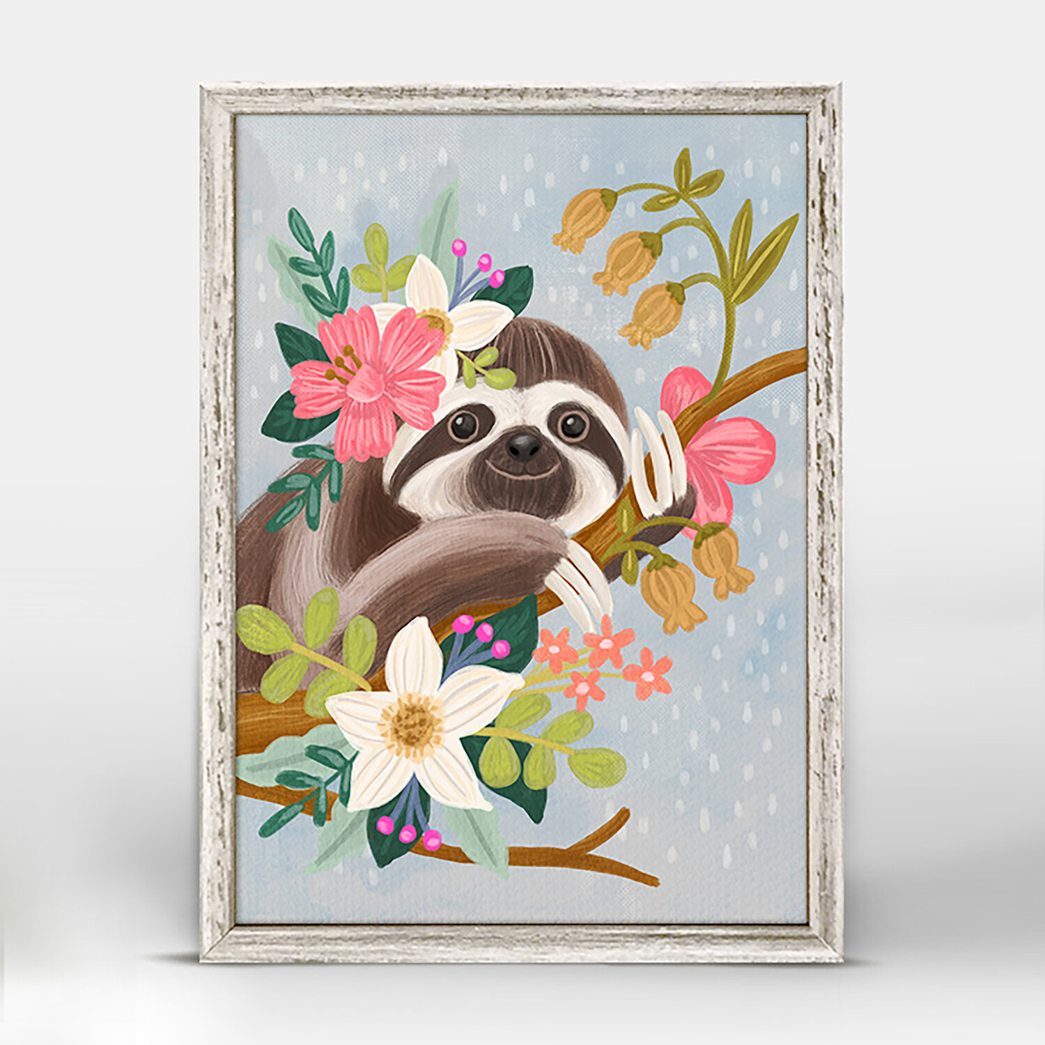 Harriet Bee Estela Sweet Sloth On Branch Mini Framed Canvas Art Wayfair