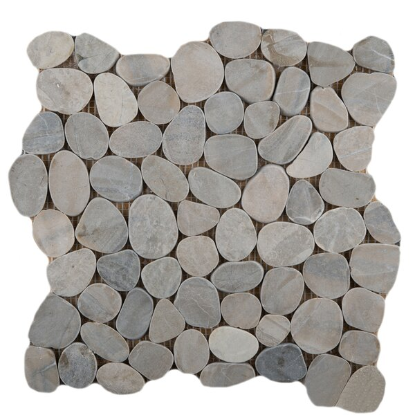 Flat Venetian Pebbles 12 x 12 Mosaic Tile in Silver by Emser Tile