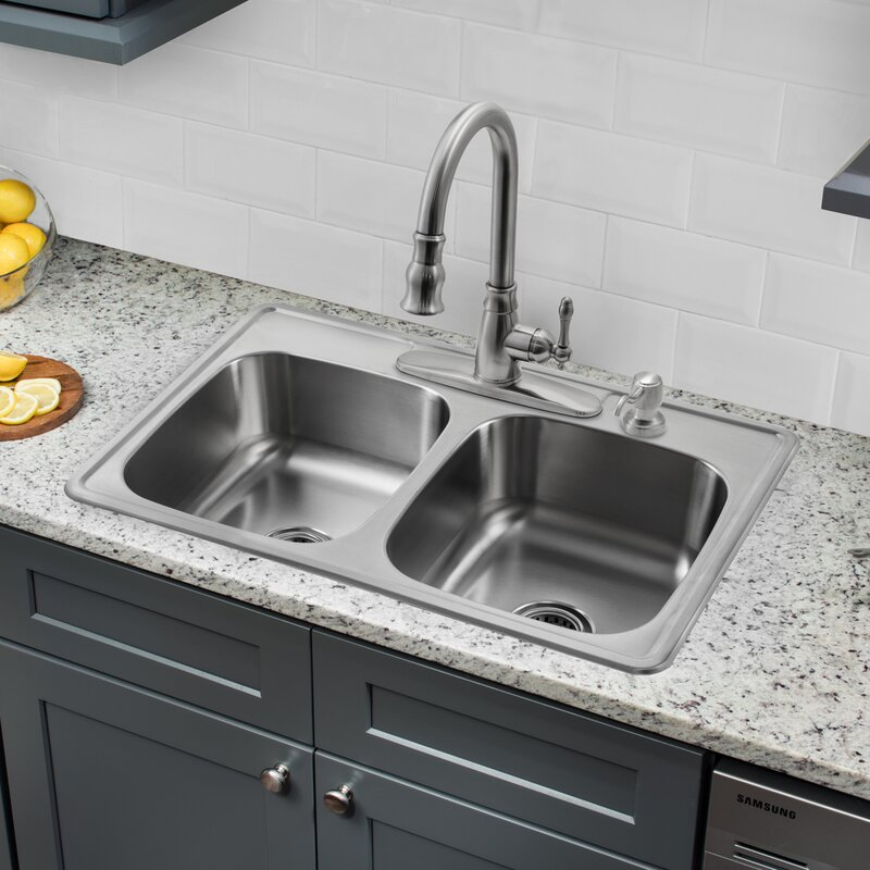 33   x 22   double bowl drop in stainless steel kitchen sink with faucet soleil 33   x 22   double bowl drop in stainless steel kitchen sink      rh   wayfair com