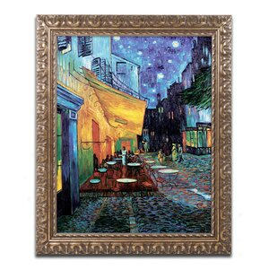 Cafe Terrace by Vincent van Gogh Framed Painting Print by Trademark Fine Art