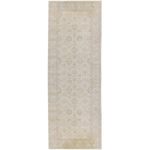 One-of-a-Kind Sultanabad Hand-Knotted Beige/Gray 5'10 x 18'5 Runner Wool Area Rug
