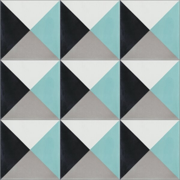 Tugboat 8 x 8 Cement Field Tile in Black/White/Blue by Villa Lagoon Tile