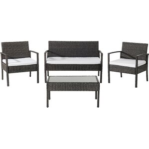 Adella Wicker Garden Furniture 4 Piece Deep Seating Group With Cushions