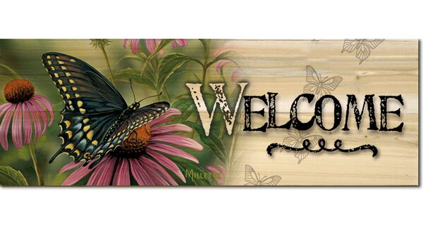 Welcome Black Swallowtail Butterfly Graphic Art Plaque by WGI-GALLERY