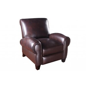 At Home Designs Ambassador Leather Manual Swivel Glider Recliner