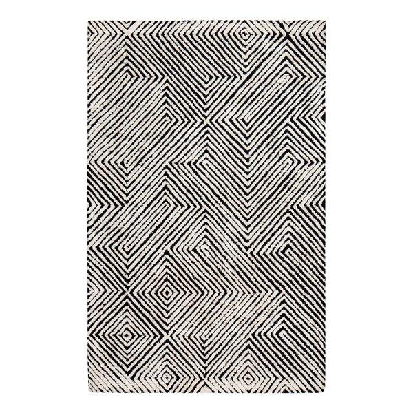 Hand-Tufted Black/White Area Rug by Brayden Studio