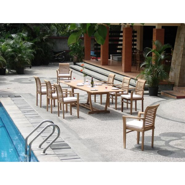 Seneca Luxurious 9 Piece Teak Dining Set by Rosecliff Heights