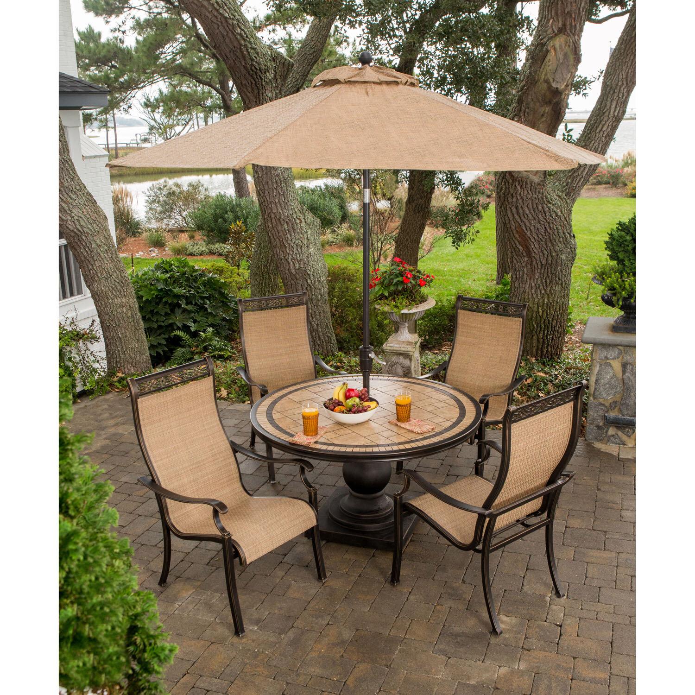 Fleur De Lis Living Sandefur 5 Piece Dining Set With Umbrella Wayfair