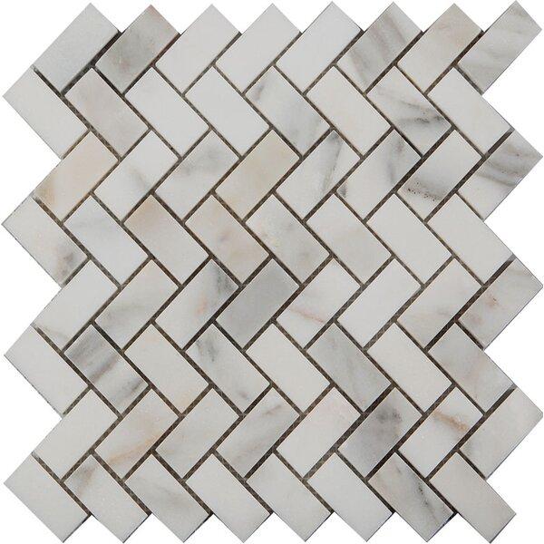 1 x 2 Herringbone Mosaic Tile in Calacatta Oro by Ephesus Stones