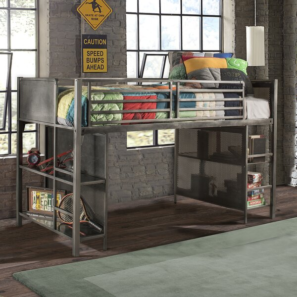Kacey Twin Low Loft Bed with Shelves by Viv + Rae