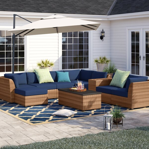 Waterbury 10 Piece Rattan Sectional Seating Group with Cushions by Sol 72 Outdoor