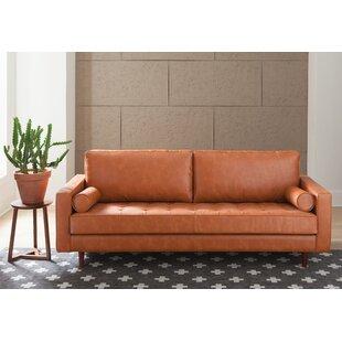 Beautiful Apartment Size Leather Sofa | Wayfair