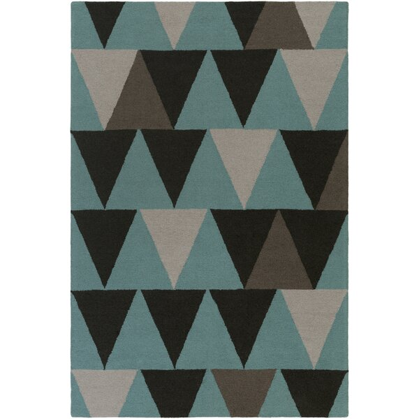 Younts Hand-Crafted Teal/Gray Area Rug by George Oliver
