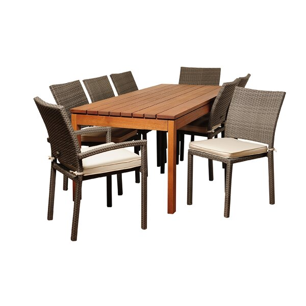 Beatrix International Home Outdoor 9 Piece Dining Set with Cushions by Longshore Tides