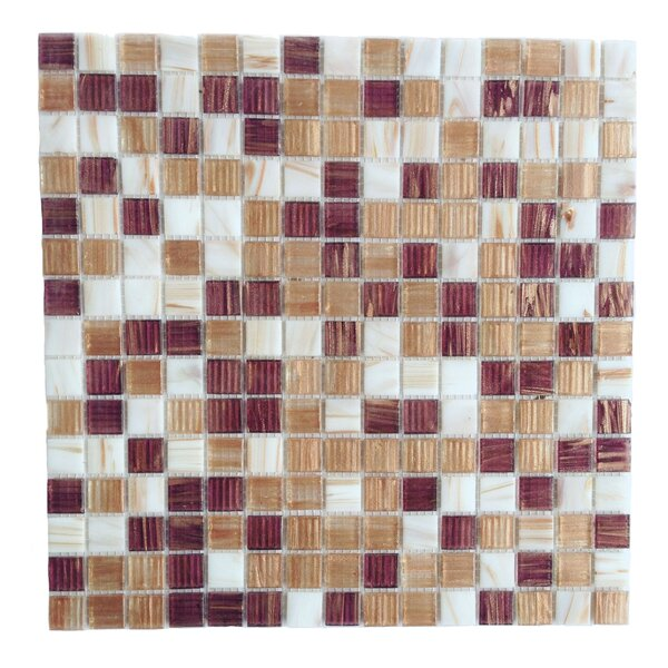 Bon Appetit 0.75 x 0.75 Glass Mosaic Tile in White/Brown/ Beige Mix by Abolos