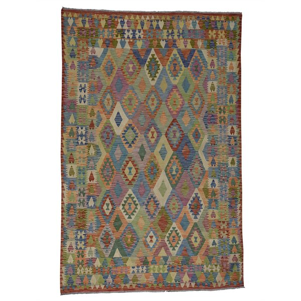 Flat Weave Afghan Kilim Veg Dyes Hand-Knotted Light Green/Brown Area Rug by Bloomsbury Market