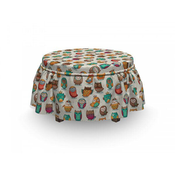 Owls Cheerful Cartoon Native 2 Piece Box Cushion Ottoman Slipcover Set By East Urban Home