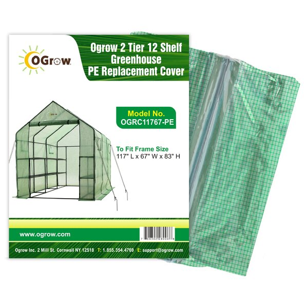 2 Tier 12 Shelf Greenhouse PE Replacement Panel Cover by OGrow