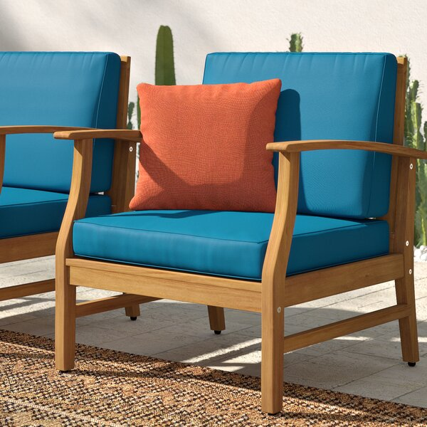 Antonia Outdoor Wood Patio Chair with Cushions (Set of 2) by Mistana