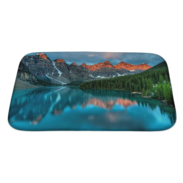 Landscapes During The Morning Sunrise at Moraine Lake, Banff National Park Rectangle Non-Slip Floral Bath Rug