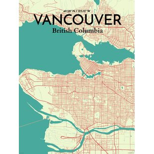Poster world map wall art youll love wayfair vancouver city map graphic art print poster in tricolor gumiabroncs Image collections