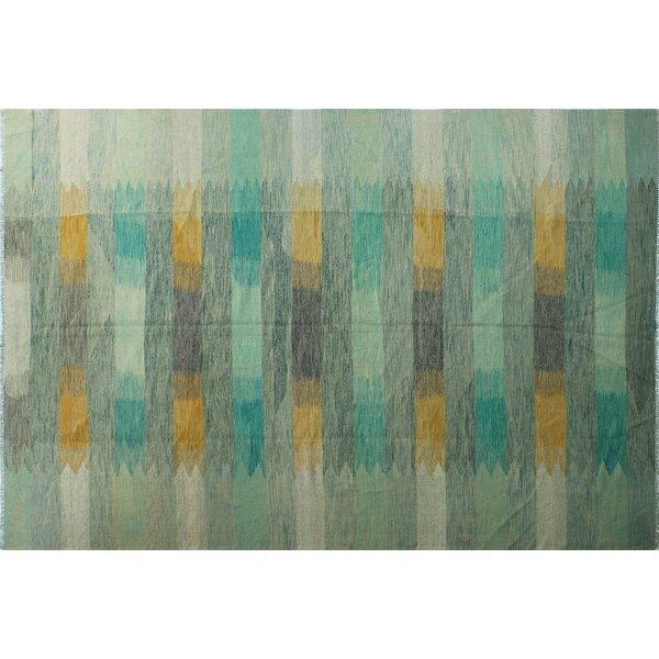 One-of-a-Kind Venus Handmade Kilim 9'7 x 14' Wool Light Green/Beige Area Rug