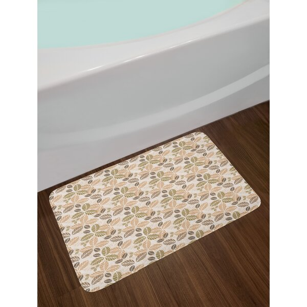 Floral Abstract Leaf Bath Rug by East Urban Home